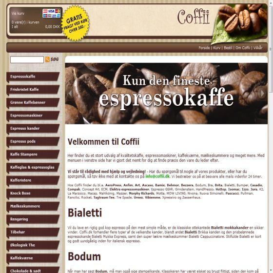 Coffii - Online tilbud på espressomaskiner, kaffe etc