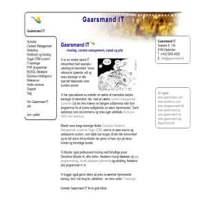Gaarsmand IT - php og mysql udvikling samt CMS