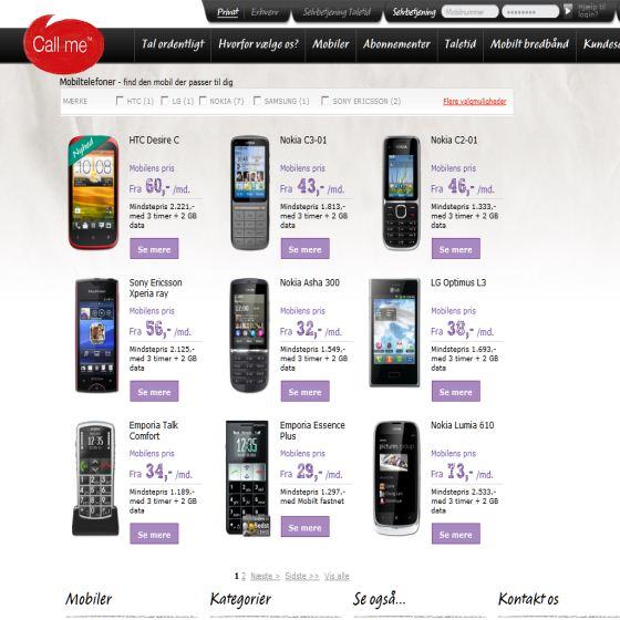 Billige mobiler hos Call me
